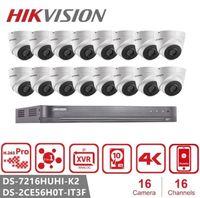 نظام كاميرا هيكفيجن 16CH HD 5.0MP الأمن مع 16 × 5MP في الهواء الطلق / داخلي CCTV كاميرا المراقبة DS-2CE56H0T-IT3F