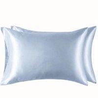 100% poliéster satinado almohada simulado estilo simple funda de almohada de seda color suave brillante de la ropa de cama extra Smooth Confortable almohada VT1461