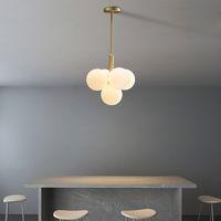 Kunst-Dekor-Blase Glaskugel G9 Pendelleuchten In Romantischen Designer Kreative White Gold All Kupfer Lampbody Hängelampe