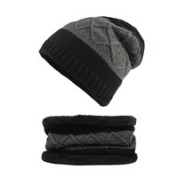 Unisex Thick Winter-Beanie Mütze Schal Set Strickmützen Thick Warm Caps Outdoor Casual-Winter-warm Beanie Skullies Cap Bonnet Schal