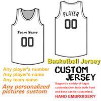 Homens personalizado Basketball Jersey costura número eo nome, logotipo bordado equipe e nome da equipe, alta qualidade Obra