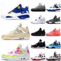 Nike Air Jordan Retro 4 Mais recente Jumpman 4 4S Womens Basketball Mens Shoes Sail Militar Azul New Bred néon o que a Retro treinadores desportivos Sneakers tamanho US 13
