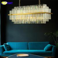 FUMAT Modern Luxury Crystal Chandeliers Lighting LED Glass Rectangular Pendant Hanging Lamp for Hotel Restaurant
