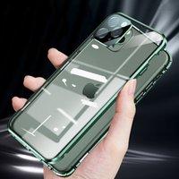 Новый мобильный телефон случае iphone12 11 Pro MAX 11 Pro 11 XSMAX XR XS / X случай двухсторонних стекол из алюминиевого сплав прямого край защитного чехла