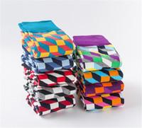Il nuovo modo felici di cotone pettinato calze da uomo confortevole calzini jacquard colorate calze plaid vestito casuali
