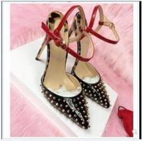 2020 Hot Vente nouveau style talon Patchwork Stiletto grande taille 45 8 10 12cm Red Bottom High Heels Rivets Chaussures cloutés ont souligné les orteils femmes Pompes