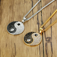 Stainless Steel Hip Hop Crystal Yin and Yang Pendant Necklac...