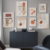 Línea abstracta geométrica cara de la muchacha Planta de la pared del arte de la lona Pintura Poster nórdicos and Prints Pared cuadros para la decoración de la sala de estar