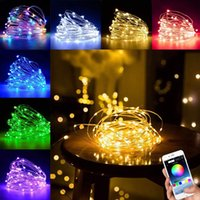 USB الجنية سلسلة الأنوار الموسيقى تزامن اللون RGB LED قطاع بلوتوث APP تحكم أسلاك النحاس سلاسل لحفلة عيد الميلاد الديكور الزفاف
