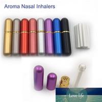 Aluminium blanc inhalateur nasal bouteilles à remplissages multiples Huiles essentielles aromathérapie avec haute qualité coton Wicks