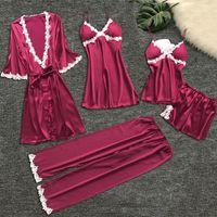 5 pièces pyjama femmes Ensembles d'impression de fleurs Pyjama Chemise de nuit en soie de nuit Chemise de nuit Sous-vêtements Robes Pajamas Set satin femme