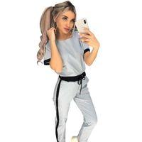 Kadın Eşofman Taotres Kısa Kollu Üst + Pantolon Kadınlar Pantolon Takım Elbise 2 Parça Set Ince Pantolon Eşofman Takım Elbise