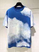 20ss الأزرق السماء أبيض اللون بقية قصيرة الأكمام المحملة الرجال النساء عالية الشارع الأزياء قصيرة الأكمام القمصان الصيف تنفس تي zdll0829.