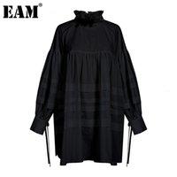 [EAM] Kadınlar Ruffles Bölünmüş Ortak Büyük Beden Bluz Yeni Standı Yaka Uzun Kollu Gevşek Fit Gömlek Moda İlkbahar Sonbahar 1D464 200924