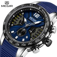 2020 New MEGIR Watch Men's Silicone Strap Sports Quartz Clock Men's Luminous Watch Waterproof Chronograph Date Calendar