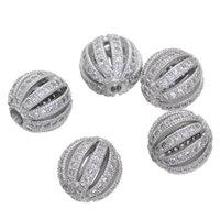 10 mm bolas de sandía microesferas de circón flojo del espaciador europeo CRAFT CZ para hacer la joyería encanto de la pulsera del collar de bricolaje