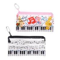 أكياس رصاص الموسيقى ملاحظة البيانو لوحة المفاتيح حالة البلاستيك شفافة القلم حقيبة طالب هدية PXPA