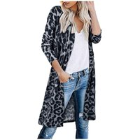 New style open front long sleeve V- neck leopard print Women ...