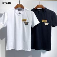 DSQ تي شيرت رجالي مصمم القمصان أسود أبيض الرجال الصيف أزياء عارضة الشارع الشهير تي شيرت قمم قصيرة الأكمام حجم M-XXXL 32202