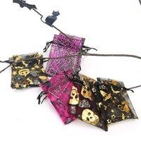 9 * 12cm Sac Halloween Mesh organza Parti bonbons sacs coulissée Emballer les cadeaux d'emballage Cartoon d'or citrouille crâne chauve-souris d'araignée Totes Nouveau D81804