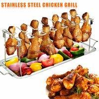 الفولاذ المقاوم للصدأ الدجاج الجناح الساق الرف الشواية حامل مع النقطة عموم ل bbq أدوات المطبخ الشواء في الهواء الطلق