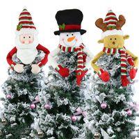 Árvore de Natal grande Topper Decoração de Santa do boneco de neve da rena Hugger Xmas do feriado de inverno ornamento Party Supplies LJJA1257
