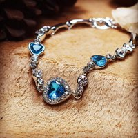 1pcs Crystal Rhinestone Heart Bangle Bracelet Fashion Charm Bracelets for Women Girls 21cm Link Chain Fashion Jewelry