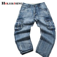 Holyrising Men Jeans Pants Casual Cotton Denim Trousers Multi Pocket Cargo Jeans Men New Fashion Denim Pants Big size 18665-5 CX200815
