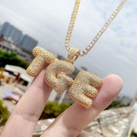A-Z Custom Name Bubble Letters Necklaces Mens Fashion Hip Hop Jewelry Iced Out Gold Silver Initial Letter Pendant Necklace