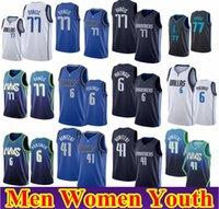 Мужские Женщины Kids 77 DONCIC KRISTAPS 6 Porzingis Баскетбол Джерси Мужская Дирка 41 Новицкий Город Белый Белый Сшитая рубашка