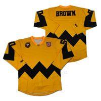 Barato al por mayor de encargo Charlie Brown Cacahuetes Jerseys de hockey hombres todos cosidos Tamaño amarillo cosido 2xs-2xl 3xl 4xl 5xl 6xl Cualquier número Número de calidad superior