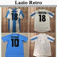 120th # 17 Immobile Mens Futebol Jerseys SS Lazio 1991 Retro # 10 Gascoigne Casa Camisa de Futebol 99 20 # 10 Mancini Inzaghi Nedved Manga Curta