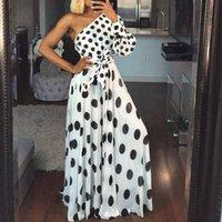 White Party-Kleid Frauen-Sommer-Neu-Schulter-Polka-Punkt-reizvolle Kleid-Damen Langarm Tunika A Line Lange Kleider für Frauen 2020