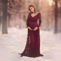 Elegant Lace Maternity Photography Props Sexy V Neck Maxi Gown Wedding Dresses Long Sleeve Pregnancy Dress for Photo Shoot