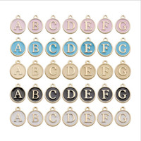 A- Z Double Sided Letter Charms Alloy Oil Drip Pendants Jewel...