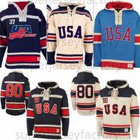 1980 معجزة في فريق الولايات المتحدة الأمريكية هوكي الجليد الفانيلة هوكي جيرسي هوديس مخصص أي اسم أي عدد مخيط البلوز الرياضة سترة شحن مجاني