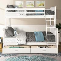 США STOCK, Двухместный За Полный двухъярусная кровать Мебель с лестницы Два хранения Тумбы Белая мебель для спальни для детей взрослых LP000065KAA
