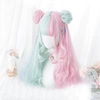 Cosplaymix 57cm lolita makaron color rosa mixto menta verde azul ombre ombre largo rizado flequillo lindo bollos sintéticos cosplay peluca