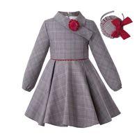 Pettigirl Grey Grid Dresses For Girls Asymmetrical Collar A-Line Girl Vintage Dress With Handmade Flower Kids Clothes G-DMGD308-A595