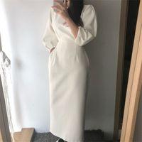 Elegant Ladies Office Dress Fashion Sexy Solid Color Dress Women Slim Midi Dress Vestidos OL0921
