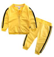 Los niños muchachas de los cabritos del chándal 2 piece La capa de la ropa de la manga larga de la cremallera de las chaquetas + pantalones pantalones equipos ocasionales sweatsuits Deportes de otoño LY814
