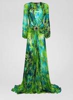 Высокий конец женская мода девочек джунглей печать рубашки платье цветы мотив V-образным вырезом с длинными рукавами 2020 MIDI юбка высочайшее качество Париж A-Line платья