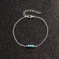 20pcs lot Silver gold Chain Turquoise Lucky Ankle Anklet Bracelet Barefoot Sandal Beach Foot DIY Jewelry new