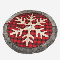 Yılbaşı Ağacı Etek 48 inç Geniş Snowflake'i çuval bezi Ekose ve Sahte Kürk Noel ağacı Tatil Süsleri JK2008XB