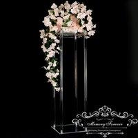 H80cm x D25cm Crystal Plaza Acrílico boda de la lámpara de mesa de flores del sostenedor del soporte del pilar central decorativa Jarrón