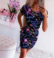 Vestidos Girl Crazy Imprimir Bodycon Womens coloridos vestidos de manga curta magro Sexy Ladies