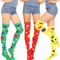 Palyaço çorap Polka Dot Mor Sarı Kırmızı Palyaço Cosplay Lady Çorap 53cm Akrilik Pamuk Çorap Kız Cadılar Bayramı Noel Hediyesi