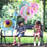 Round Alpaca Alluminio Balloon Balloon Llama Forma Air Balloons per Compleanno Baby Shower Party Party Globos Bambini Decorazione giocattolo