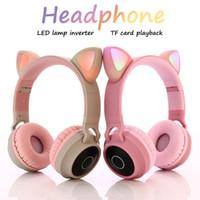 Pembe Kedi Kulak Bandı Kablosuz Kulaklık LED Gürültü Iptal Kulaklık Kulaklık Desteği TF Kart HD Mikrofon ile 3.5 mm Fiş