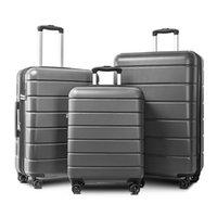 Gray 3 pezzi di bagaglio, trolley leggero 20/24/28 pollici, estendibile rotazione della cassa dei bagagli ruote, a scomparsa, noi magazzino